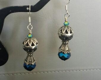 Balloon earring Electric blue swarovski crystal sterling earwires, So pretty!