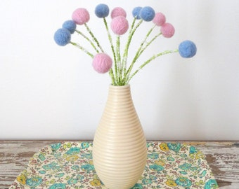 Pink and Blue flower bouquet.  Wool pom pom felted flowers.  Rose Quartz, Serenity Blue Pantone 2016  Faux flowers. Vase filler Balls. SALE