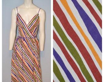 1970's Vintage Diagonal Striped Spaghetti Strap Lanz Original Wrap Dress - Purple, Green, Yellow, Burgundy, White