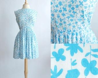 Vintage 60s Dress | 1960s Cotton Dress | Korell Blue Floral Cotton Dress
