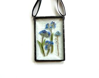 Forget-me-not flowers, stained glass suncatcher, blue flowers, summer suncatcher ornament, gift under 30, unique ooak, pressed flower art