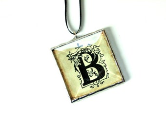 Letter ornament, family ornament, personal ornament, personalized, letter B, black letter, family name, custom ornament, initial ornament