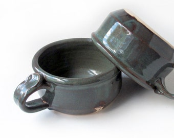 Pair Dark Green Soup Mugs
