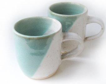 Pair Blue and White Mugs