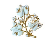 Coro Brooch, Flower Brooch, Lily of the Valley, White Enamel, Gold Tone, Designer Signed, Vintage Jewelry