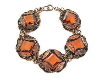 Art Deco Bracelet, Czech Glass, Amber Topaz, Gold Tone, Autumn Leaf, Wide Chunky, Vintage Bracelet, Antique Jewelry