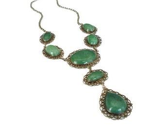 Vintage Necklace, Green Aventurine, Silver Filigree, Indian Import, Boho Chic, Vintage Jewelry