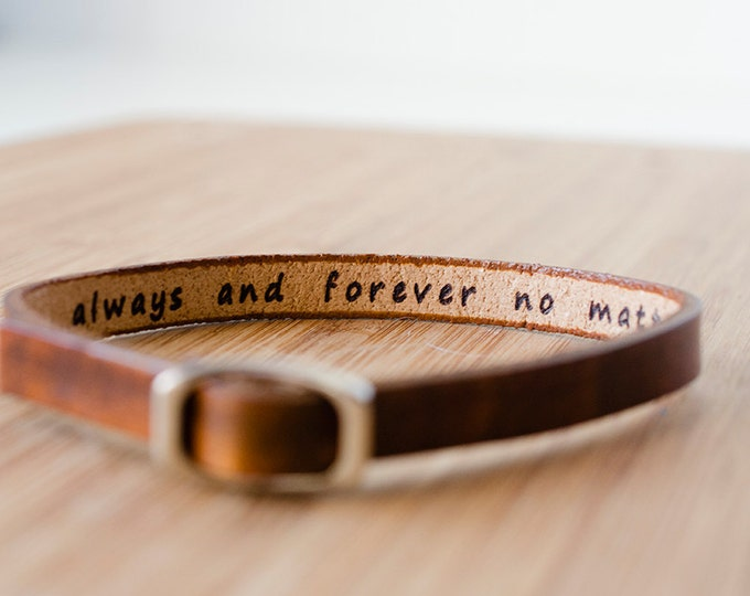 Featured listing image: Secret Hidden Message Skinny Adjustable Leather Bracelet