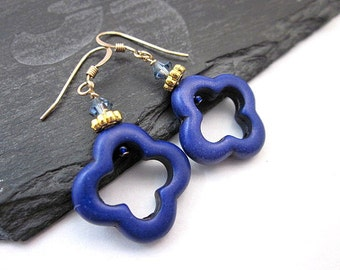 Blue Turquoise Earrings -- Quatrefoil Earrings -- Blue & Gold Earrings -- Quatrefoil Dangles -- Dark Blue Bead Earrings -- Dark Blue Dangles