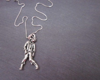 Sterling Chain & Charm Necklace -- Halloween Charm Necklace -- Zombie Jewelry -- Zombie Necklace -- Scary Necklace -- Undead Necklace