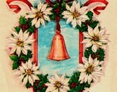 Vintage Christmas Card Beautiful Bell Bow White Poinsettias