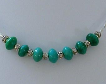 Minimalist Thank You Necklace Russian Amazonite & Swarovski Crystals