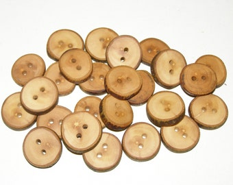 """Small 25 Handmade apple wood Tree Branch Buttons with Bark, accessories (0,79'' diameter x 0,16"""" thick)"""