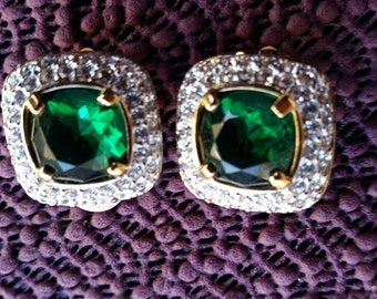 Vintage Swarovski signed gold tone emeral green crystal Earrings clip on
