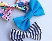 Floral bow, black and white stripe bow, baby bow set, newborn headbands, girls bows