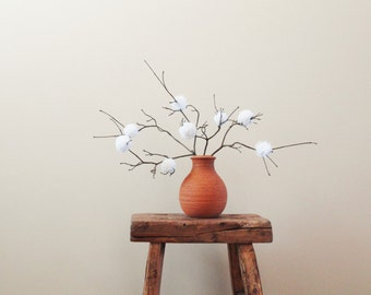 White Pom Pom Flowers - Rustic Country Wedding Decor - Baby Nursery - Shower/Party Decor - Simple Minimalist Centerpiece - Natural Twigs