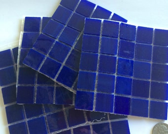 MG1220100 Dark Blue Stained Glass Mosaic Tiles-25 pc// Discount Mosaic Supplies//Blue Stained Glass