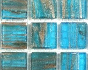 """GA62080Sea Blue Glass 3/4"""" Mosaic Tiles-25 pc//Discount Mosaic Supplies//Mosaic"""