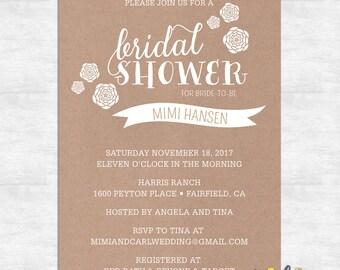 printable bridal shower invitations rustic bridal shower invitation printed invitations printable invites