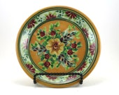 Gold Dinnerware - Handmade Floral Ceramic Plate - Pottery Dish for Dessert or Bread - Red and Yellow Flowers