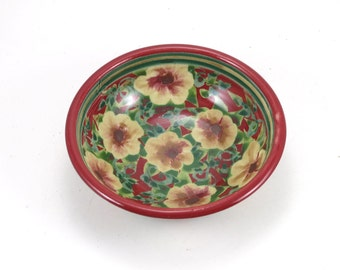 Red Ceramic Serving Dish - Shallow Bowl with Hand Painted Flower Design - Dinnerware