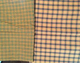 Homespun Gold & Green Plaid Fabric By The Yard
