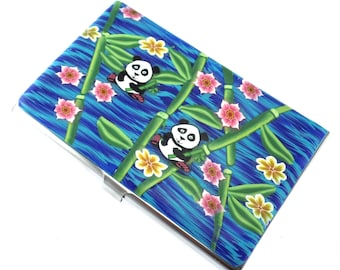 Unique Colorful Polymer Clay Business Card  Case, Panda Design