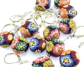 1 Polymer Clay Stitch Marker, Flower Design