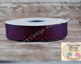 Blue with Fuschia Foil Scales 7/8 inch Ribbon