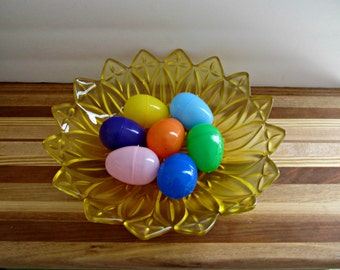 Sunflower Gold Bowl - Vintage Glass Bowl - Upclcyed Painted Glass -
