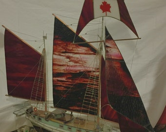 Schooner, stained glass, double masted, Model Boat OOAK