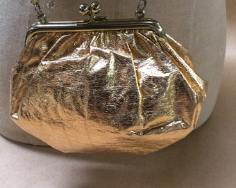Burnished Gold Evening Bag with Long Chain Pouch for Evening Wear--Prom or Wedding Bag--Formal Gold Bag
