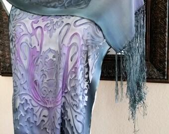 Hand painted Silk Scarf. Art Nouveau. Silk Shawl. Grey, Silver and Lilac Silk Shawl. Wedding. Silk painting shawls