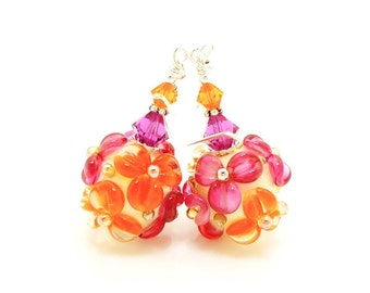 Pink Orange Earrings, Pink Orange Floral Earrings, Lampwork Earrings, Glass Bead Earrings, Glass Earrings, Dangle Earrings, Beadwork Earring