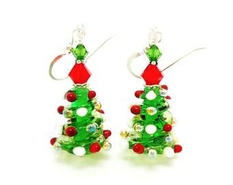 Christmas Tree Earrings, Lampwork Earrings, Christmas Jewelry, Christmas Earrings, Beadwork Earrings, Holiday Earrings, Tree Earrings