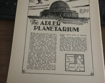 The Adler Observatory 1933 book page history print illustration . Art frameable history