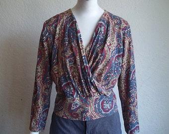 Vintage 80s In Wear Paisley High Waist Surplice Wrap Knit Top US M EU L B40