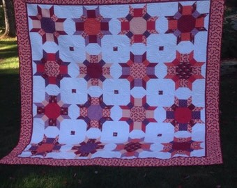 "Modern Bright Queen size in Red, Oranges and Purples 93"" square"
