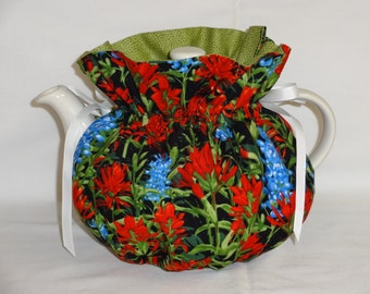 Wild Flowers on Black Reversible 6 Cup Teapot Cozy