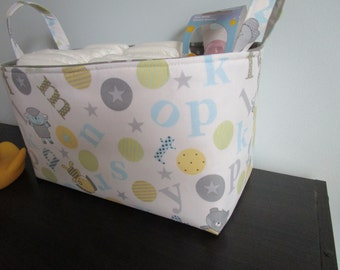 Medium Diaper caddy, Nursery Basket, Fabric Basket, Organization, fabric bin, storage basket, Toy Storage Bin,  basket, Medium Size