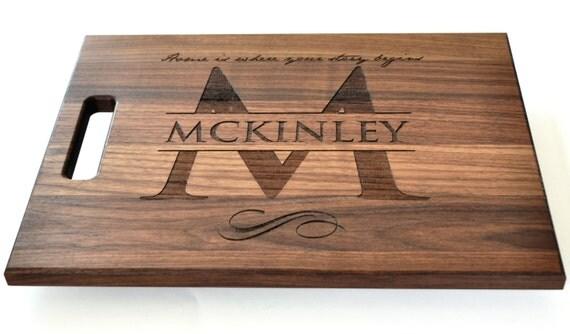 Personalized Cutting Board Laser Engraved Walnut 11x15 Wood Cutting Board CW1115
