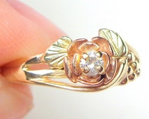 Black Hills Gold Diamond Ring, Solid 10k Gold, Vintage Rose Gold Ring,Yellow Gold Ring,Rose,Vine,Leaf Ring,Classic Gold Ring,Gold Filigree