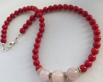 Red Coral and  Rosequartz Necklace , Pink Rosequartz and Coral Necklace