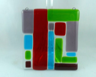 fused glass art - colorful glass art - fused glass sun catcher - colorful art - glass art lover - glass art - patchwork pattern - glass