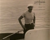 Vintage Photo - Man In Hat With Cigarette In Rowboat
