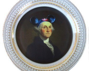 Mouseketeer Washington Portrait Plate - Altered Vintage Plate 10.75""
