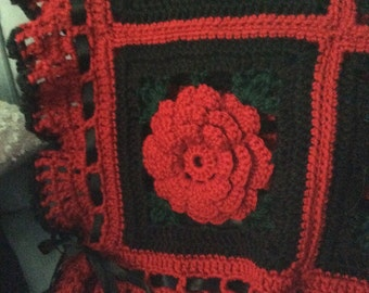 Gothic Black n Red Rose Afghan Throw - Crocheted Blanket - Made Fresh after sale - 48 squares