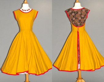 50s Dress, 1950s Full Skirt Rockabilly Dress, 50s Wrap Dress