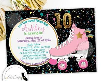 Roller Skating Birthday Party Invitation, Roller Skates, Retro, Neon Pink Black, Rainbow, Printed or Printable Invitations, Free Shipping