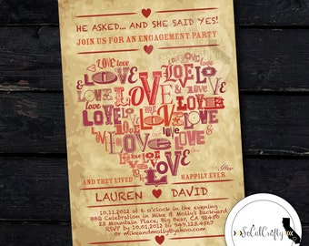 Typography Engagement Party Invitation, Typographic, Vintage, Heart, Love, Red Tan, DIY, Printed or Printable Invitations, Free Shipping